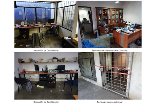 The offices of Confidencial were raided by the National Police on Dec. 13. (Screenshot from Confidencial)