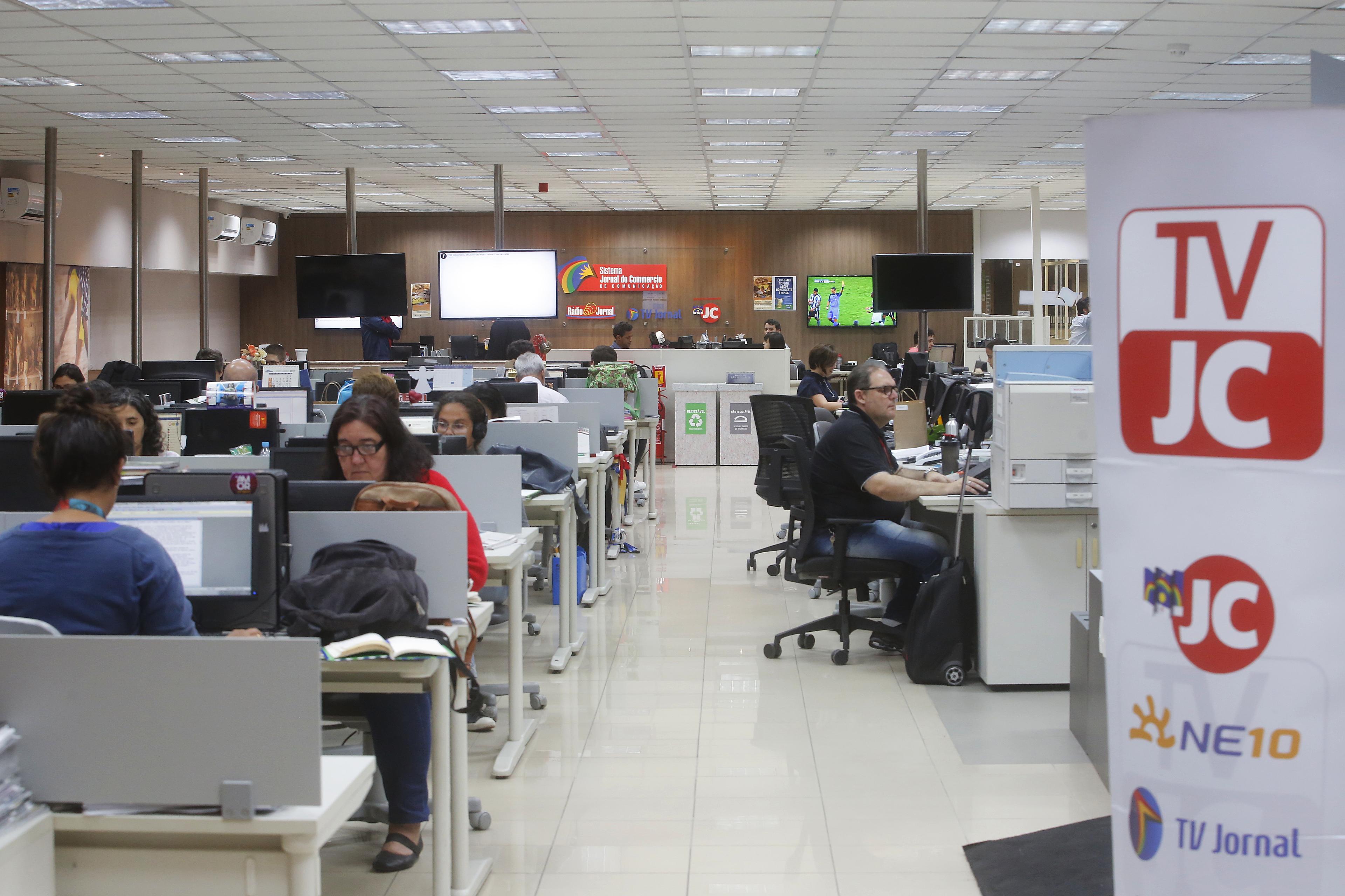 Sala de redacción de Jornal do Commercio en Brasil. (Foto: Leo Motta/Jornal do Commercio).