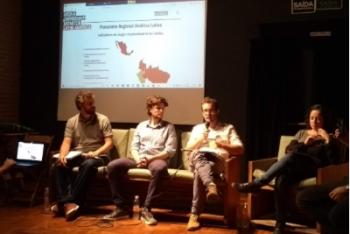 Emmanuel Colombié, da RSF, fala durante primeiro evento de lançamento do site MOM América Latina, em São Paulo. (Foto: Carolina de Assis / Centro Knight)