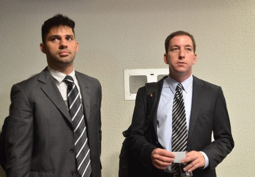 Brasília – The Espionage Parliamentary Inquiry Comission (CPI) hears journalist Glenn Greenwald and his partner, Brazilian David Miranda, on the accusations of espionage on behalf of the U.S. government towards Brazil. L/R: David Miranda and Glenn Greenwald. Elza Fiúza / Agência Brasil