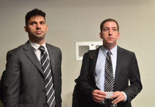 Brasília – The Espionage Parliamentary Inquiry Comission (CPI) hears journalist Glenn Greenwald and his partner, Brazilian David Miranda, on the accusations of espionage on behalf of the U.S. government towards Brazil. L/R: David Miranda and Glenn Greenwald. Elza Fiúza / Agência Brasil