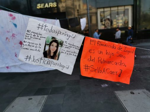 Posters protesting the feminicide of Ingrid Escamilla