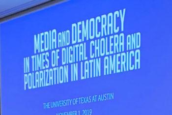 From L, Gabriela Warkentin, Luz Mely Reyes, Leandro Demori, Pedro X. Molina and Rosental Alves (Teresa Mioli-Knight Center)