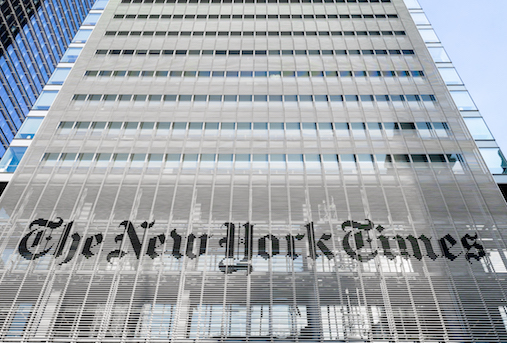 The New York Times building in New York City (Photo: Ajay Suresh from New York, NY, USA [CC BY 2.0])