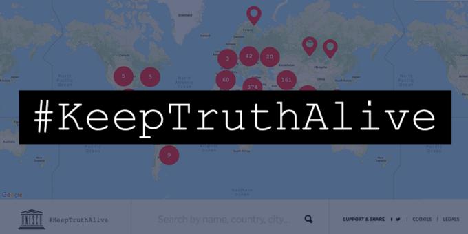 Arte da campanha #KeepTruthAlive, da Unesco (Reprodução: Twitter)