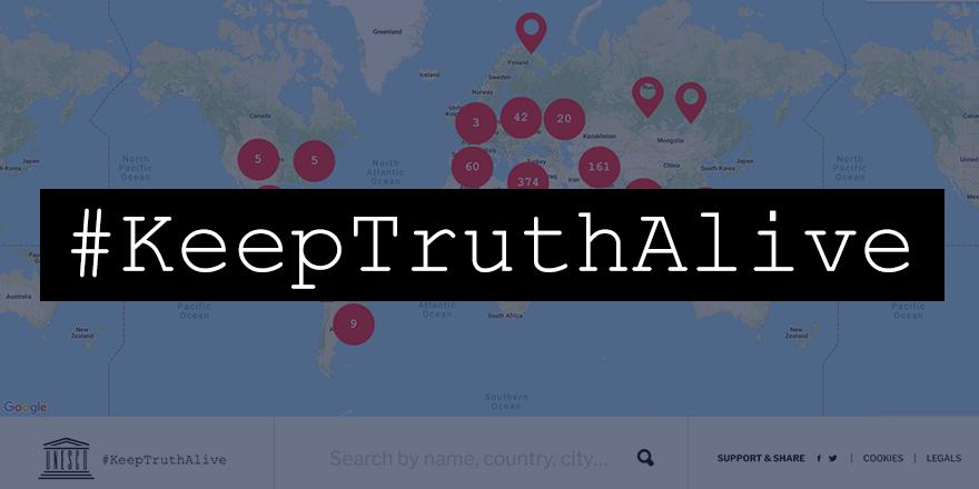Campaña #KeepTruthAlive de la Unesco. (Reproducción/Twitter).