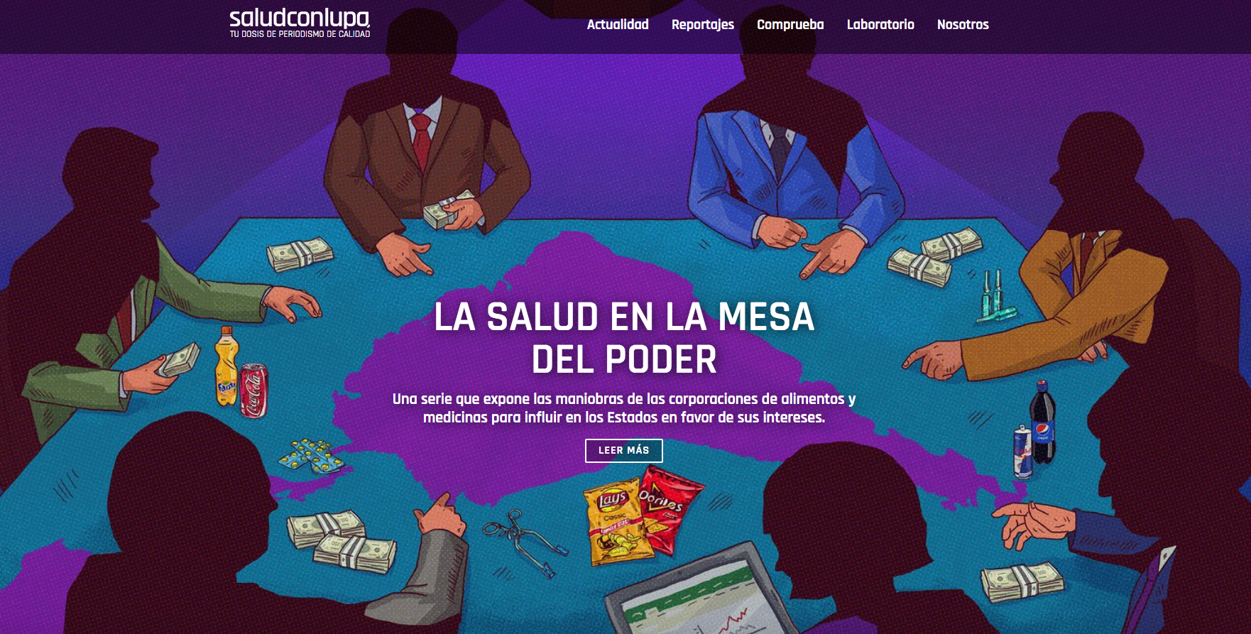 Salud con Lupa's first investigative report focused on food and medicine corporations. (Screenshot)