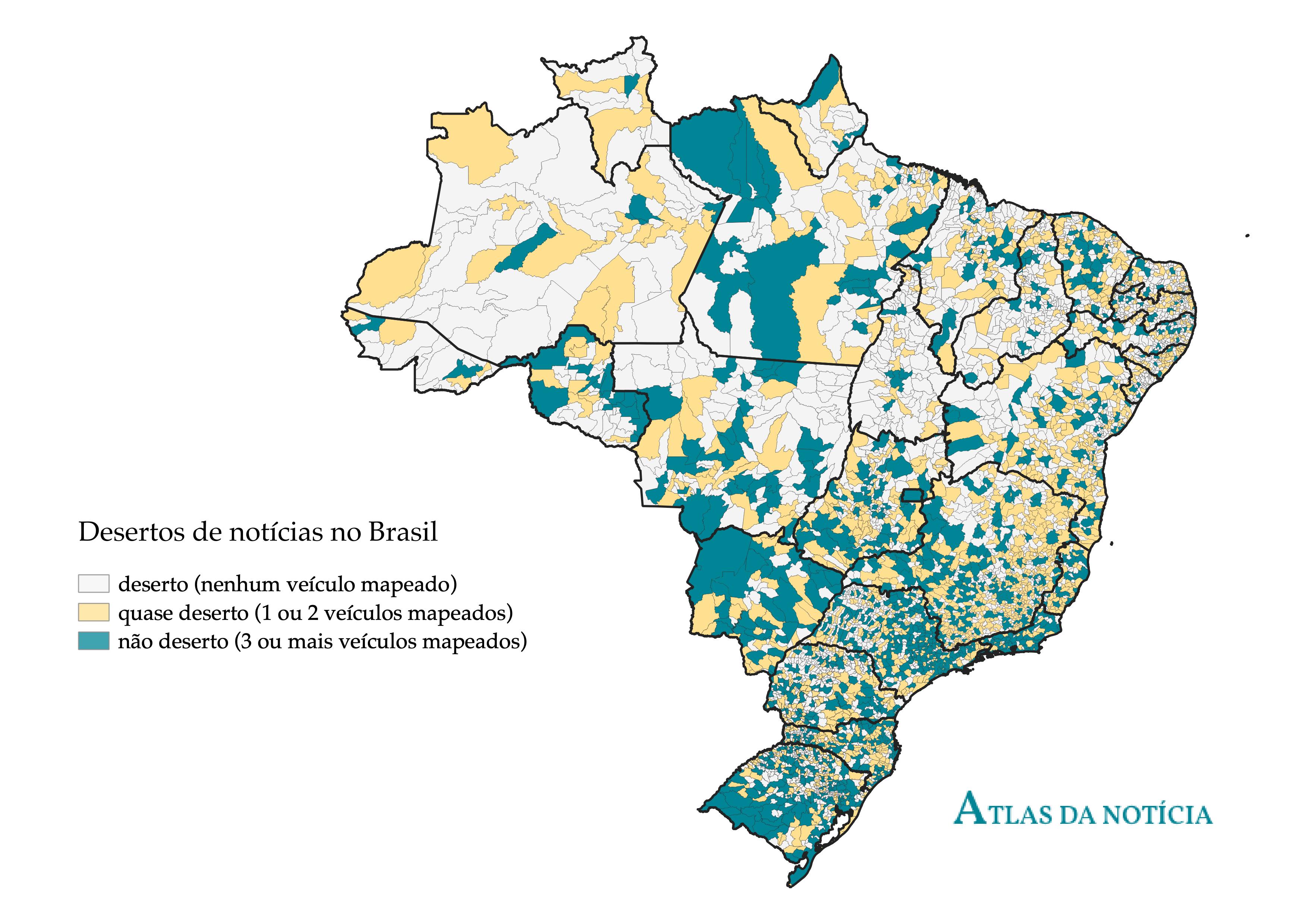 """O Atlas da Notícia mostra que 30% dos municípios brasileiros, mostrados em amarelo, são """"quase desertos"""" de notícias. (Cortesia)"""