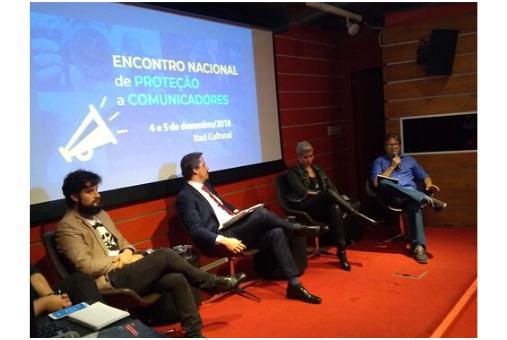 Valério Luiz Filho (Instituto Valério Luiz), Emmanuel Pellegrini (MPF), Raiana Falcão (MDH) and Andrew Downie (CPJ) during the meeting in São Paulo. (Photo: Marina Atoji / Abraji)