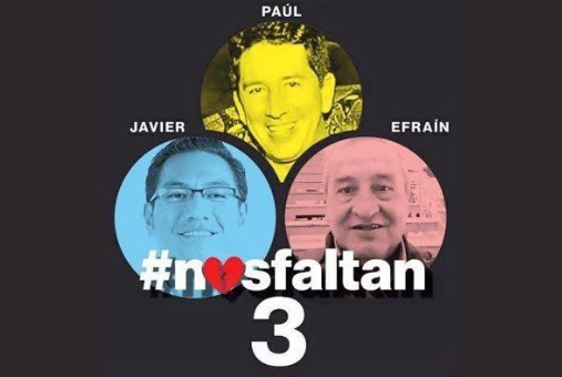 "Photo of the abducted journalists from the Twitter account ""Nos Faltan 3"""