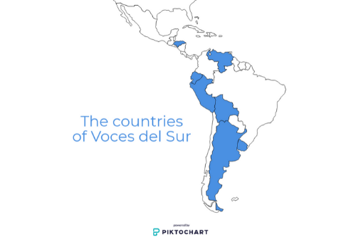 The countries of Voces del Sur
