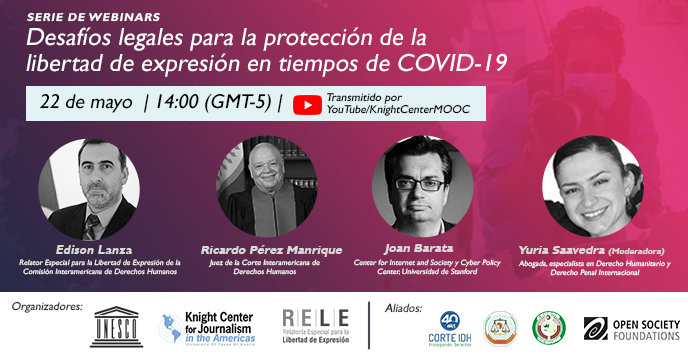 "Webinar ""Legal challenges for the protection of freedom of expression in times of COVID-19."""