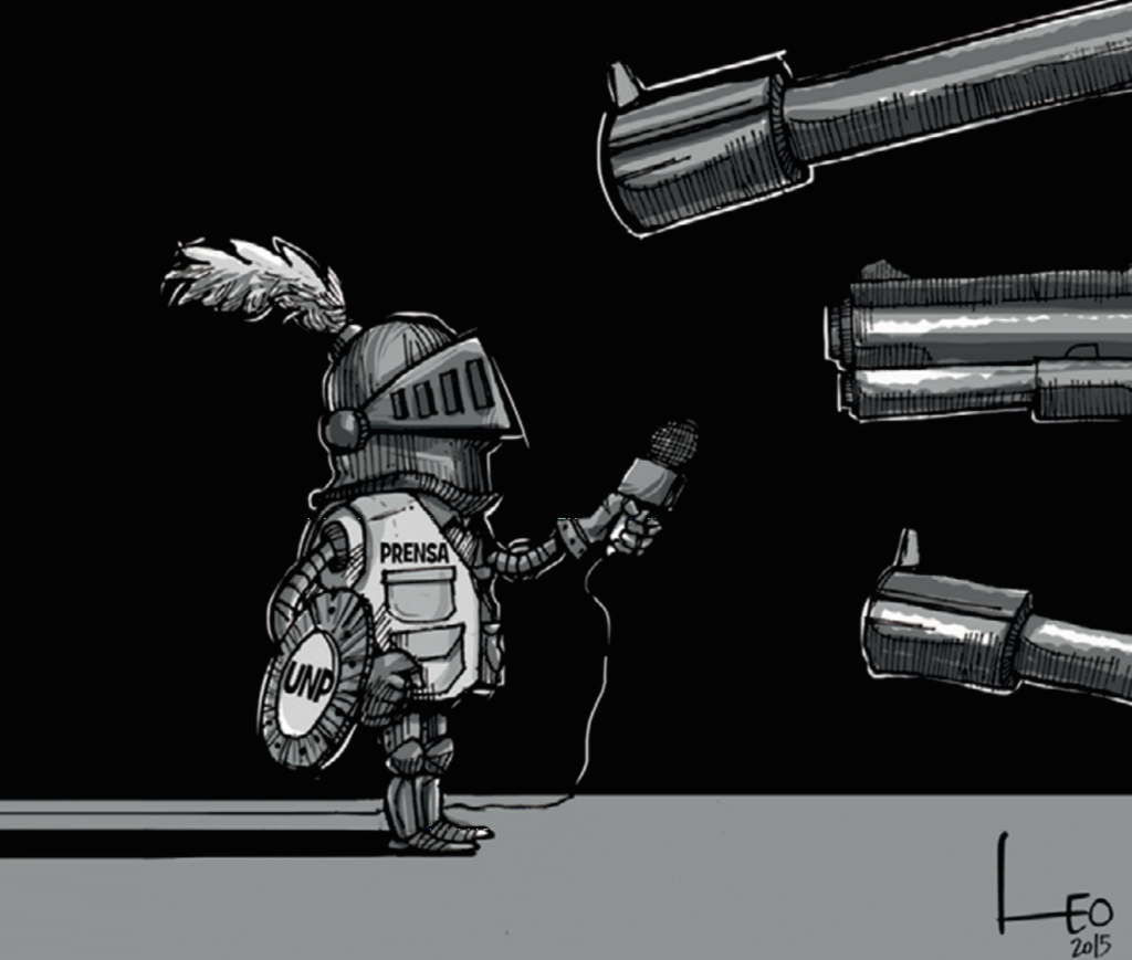 """Ilustración de Leonardo Parra """"Leo"""". Violencia contra prensa"""
