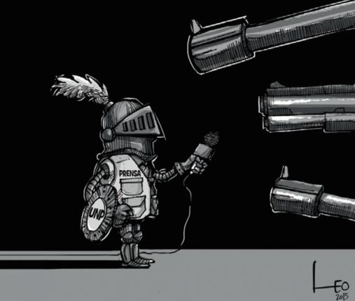 """Ilustração de Leonardo Parra """"Leo"""". Retirado do relatório 60 anos de espionagem contra jornalistas na Colômbia da Fundação para a Liberdade de Imprensa. Colômbia, 2014. (Cortesia FLIP)"""