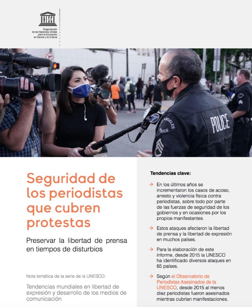 Portada Informe Seguridad Periodistas Protestas Unesco