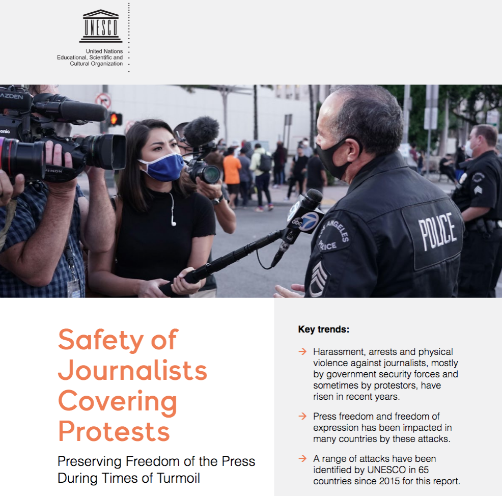 Unesco report Safety journalists protests (Screen shot)