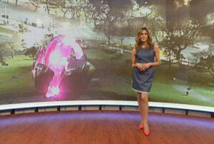Diana Zurco, en el estúdio de la TV Pública