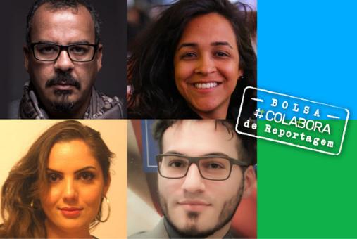 Maíra Streit, Marcio Pimenta, Joana Suarez e Henrique Kluger são os quatro vencedores da Bolsa #Colabora de Reportagem (Fotos arquivo pessoal com arte de Fernando Alvarus)