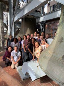 Knight-Wallace Fellows inside a carillon