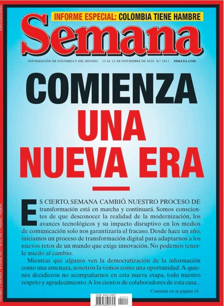 Cover of the first Semana magazine