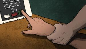 dedo em urna eletrônica