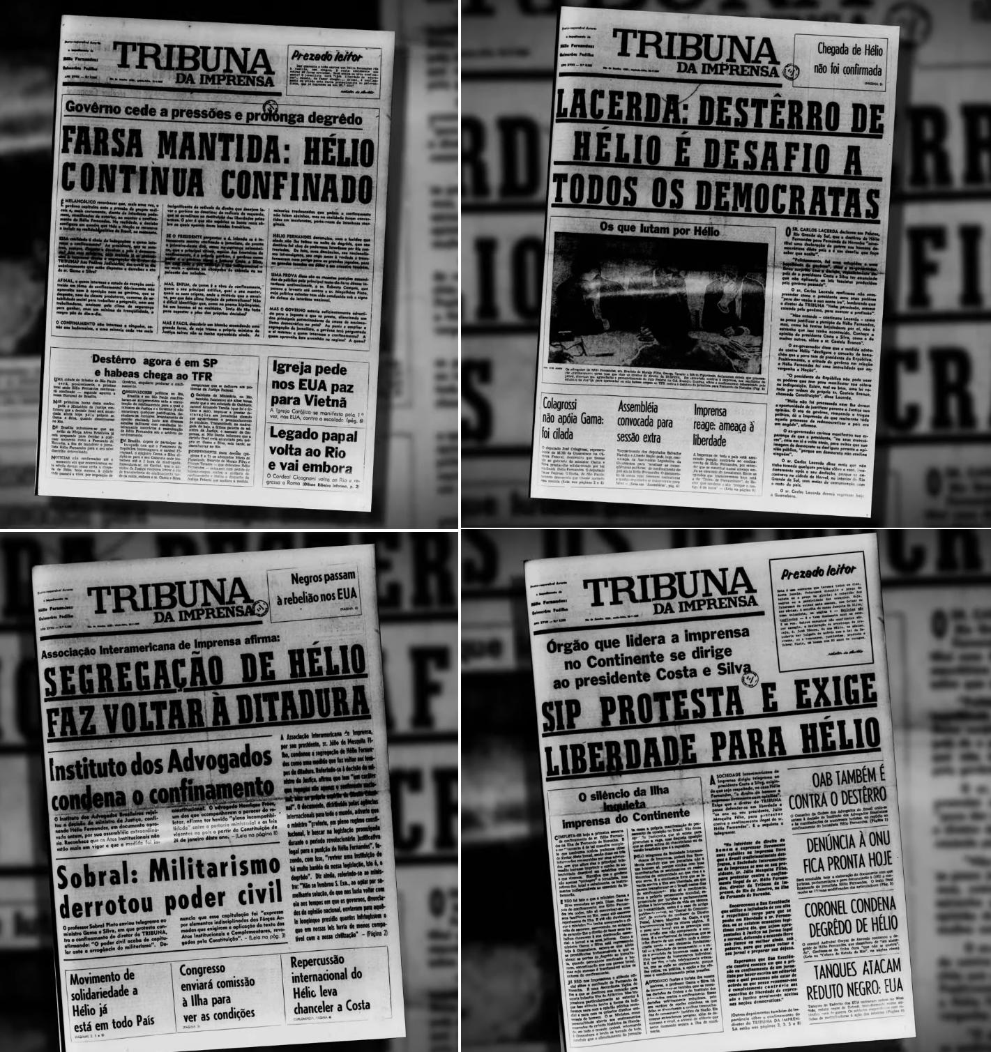 Campanha da Tribuna da Imprensa contra confinamento de Fernandes: resultado oposto ao esperado pelos militares. Crédito: reprodução.