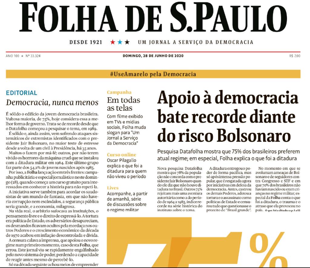 En 2020, Folha lanzó una campaña para defender la democracia y reafirmó en un editorial que estuvo mal apoyar el golpe de 1964 en Brasil. (Crédito: reproducción)