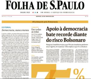 Em 2020, Folha lança campanha de defesa da democracia e reafirma em editorial que errou ao apoiar o golpe de 1964 no Brasil. Crédito: reprodução