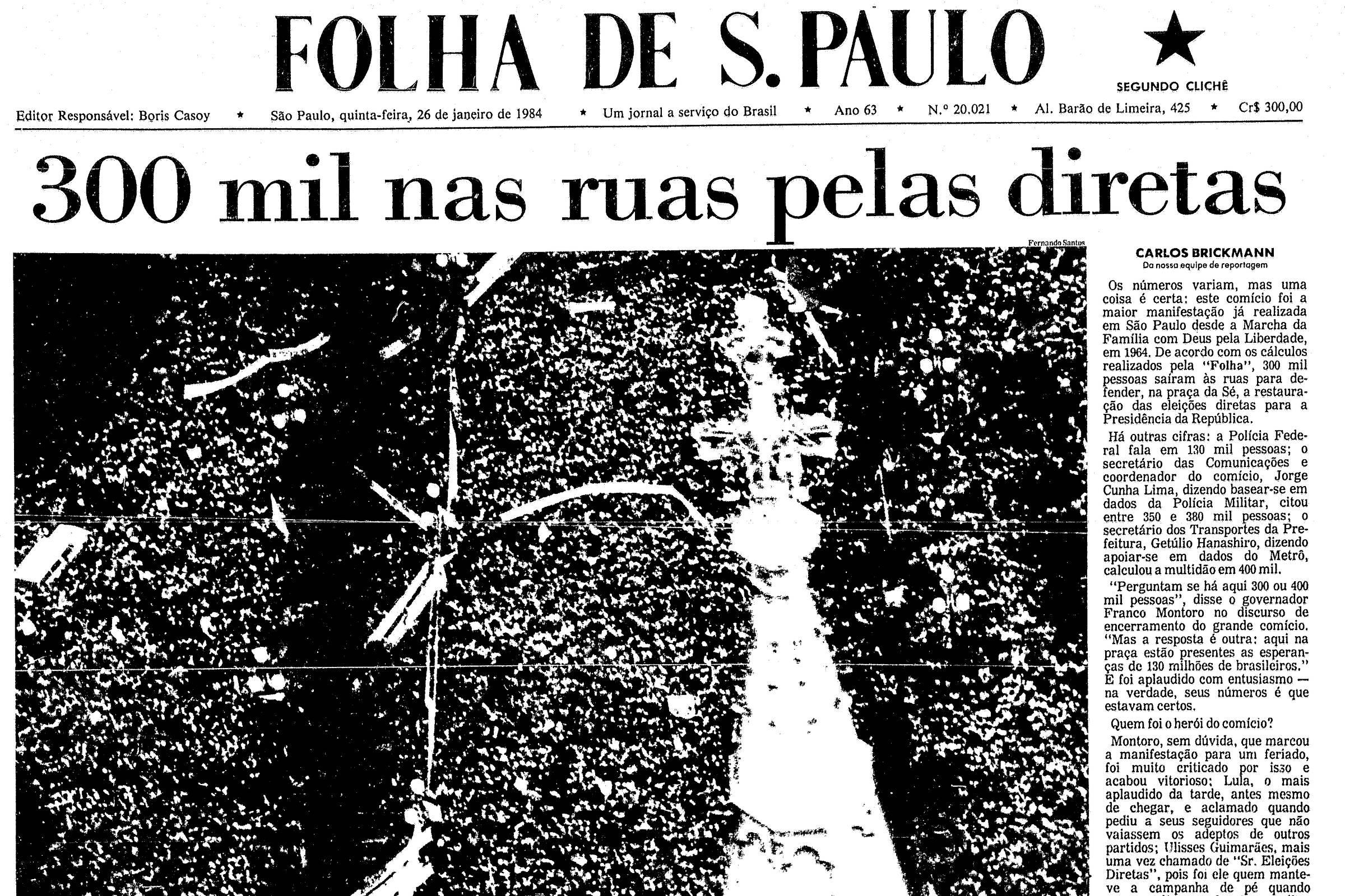Capa histórica da Folha de S.Paulo durante a campanha por eleições diretas no Brasil. Crédito: reprodução.