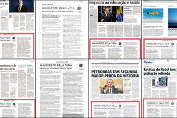 Oito jornais brasileiros publicam informe publicitário com informações falsas sobre o tratamento da COVID-19. Arte: Jeff Nascimento (@jnascim)