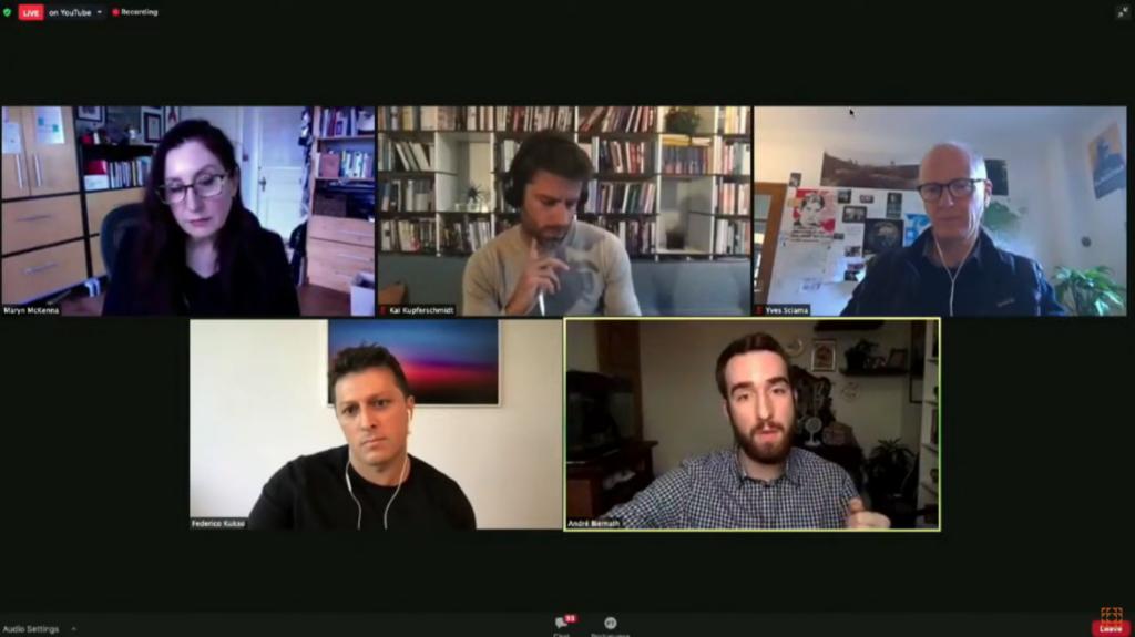 El panel reunió a los periodistas científicos André Biernath, de Brasil; Federico Kukso, de Argentina; Kai Kupferschmidt, de Alemania; e Yves Sciama, de França. Fue moderado por Maryn McKenna.