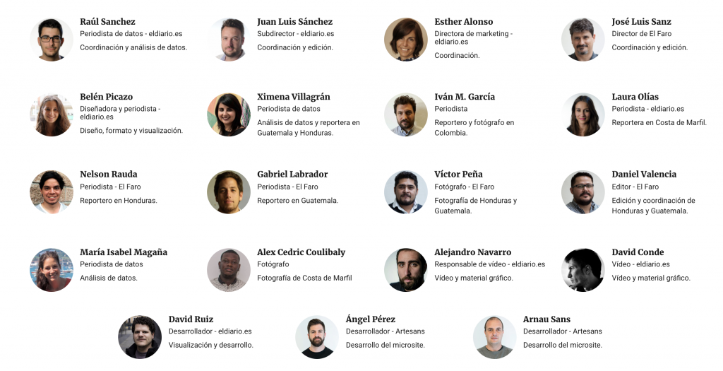Team responsible for 'La Tierra Esclava': data indicated patterns of exploitation of agricultural workers in Latin America and other irregularities. Source: Screenshot.