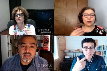 Painel sobre diversidade racial e étnica reuniu os jornalistas Paula Cesarino Costa (Brasil), María Teresa Juárez (México) e Pedro Cayuqueo (Chile), com mediação de Marco Avilés (Peru).