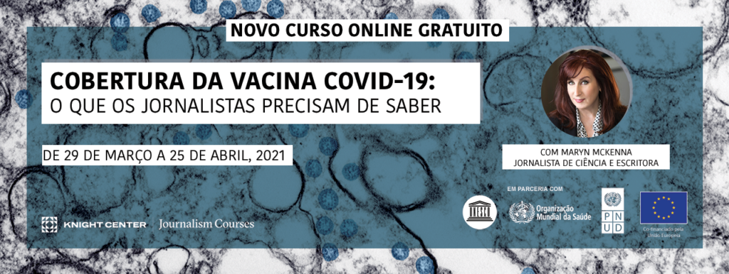 Banner in Portuguese for COVID vaccines MOOC