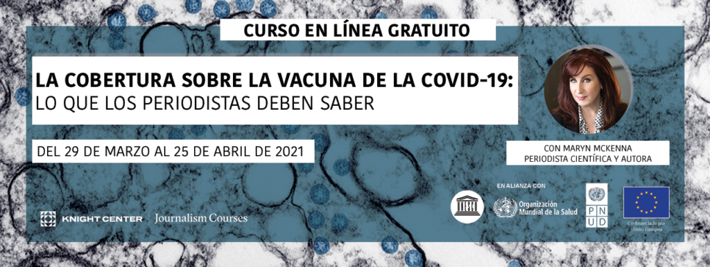 Banner in Spanish for COVID vaccines MOOC
