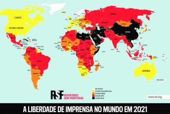 Mapa mostra situação global da liberdade de imprensa. Fonte: RSF