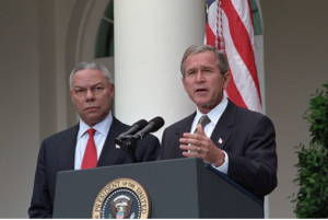 Colin Powell and George W. Bush: Weapons of Mass Destruction story was a mix of leaks and trial balloons that resulted in a huge cascata. Source: The U.S. National Archives