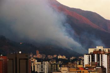 Fire in 2010 at El Ávila Mountain in Caracas, Venezuela