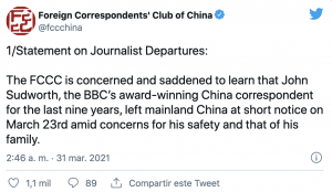 Tweet from Foreign Correspondents' Club of China
