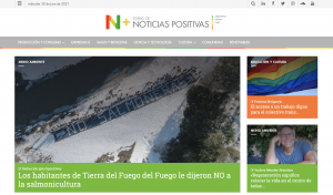 Captura de pantalla del sitio Noticias Positivas