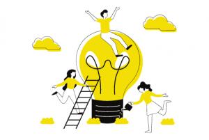 People and lightbulb illustration