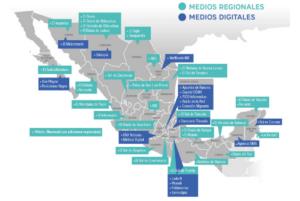 Medios mexicanos regionales y digitales mapeados como parte de la encuesta de WAN-IFRA y el Tecnológico de Monterrey.