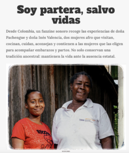 """A story published by Cosecha Roja as part of the series. The headline: """"I am a midwife, I save lives."""""""