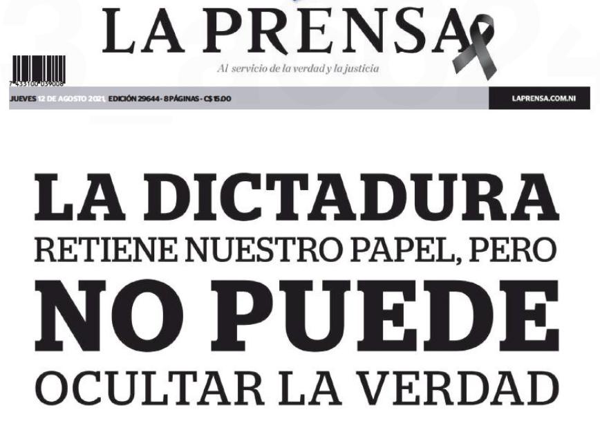Parte de la portada impresa del diario La Prensa de Nicaragua del 12 de agosto de 2021.