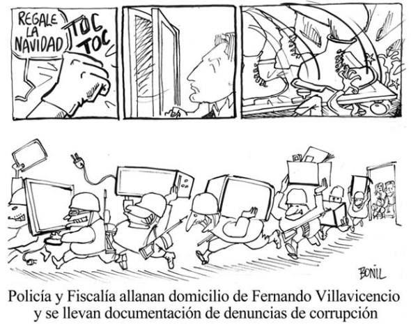 Editorial cartoon by Xavier Bonilla published on Dec. 28, 2013 in Ecuadorian newspaper El Universo